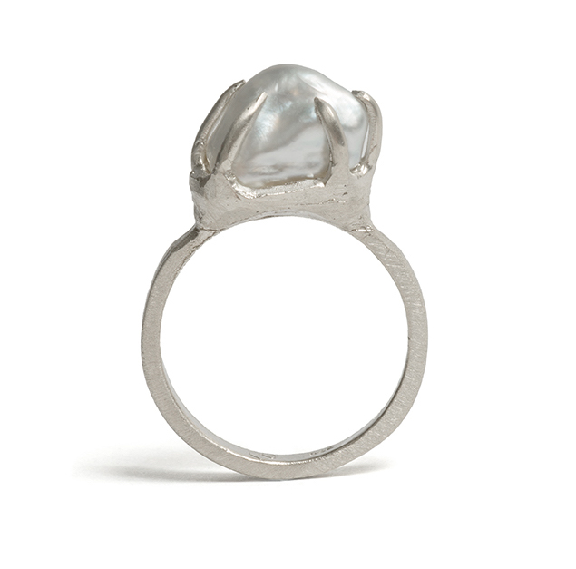 Tessa Blazey  Keshi pearl & 9ct white gold | Unique handmade engagement ring | Melbourne | bespoke ring | Australian