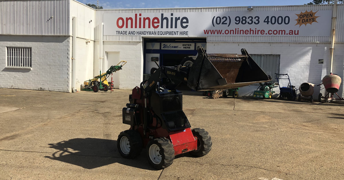 At Online Hire we hire mini skid steer loaders with a variety of attachments.