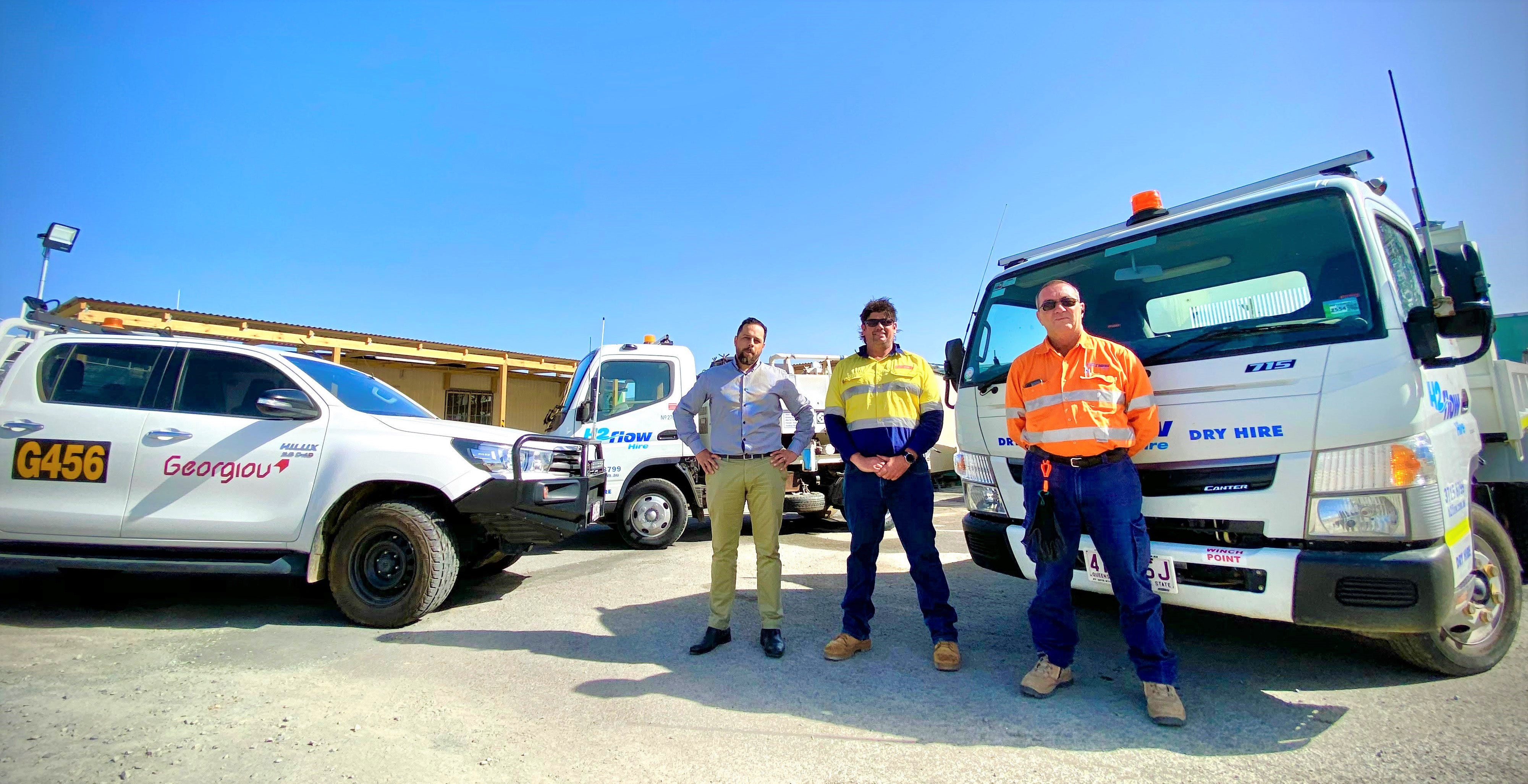 Anthony Betts, iSeekplant's Jason Howman and Georgiou's Civil Supervisor Luke Farrell pictured on-site.