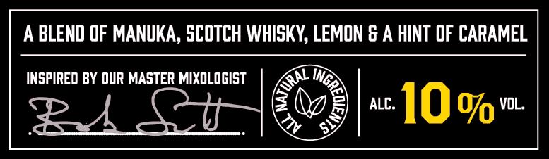 A blend of manuka honey, scoth whisky, lemon and a hint of caramel. 10% vol