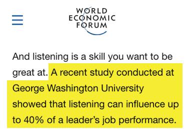 world economic forum - escucha activa puede influir en hasta el 40% del desempeño laboral de un líder