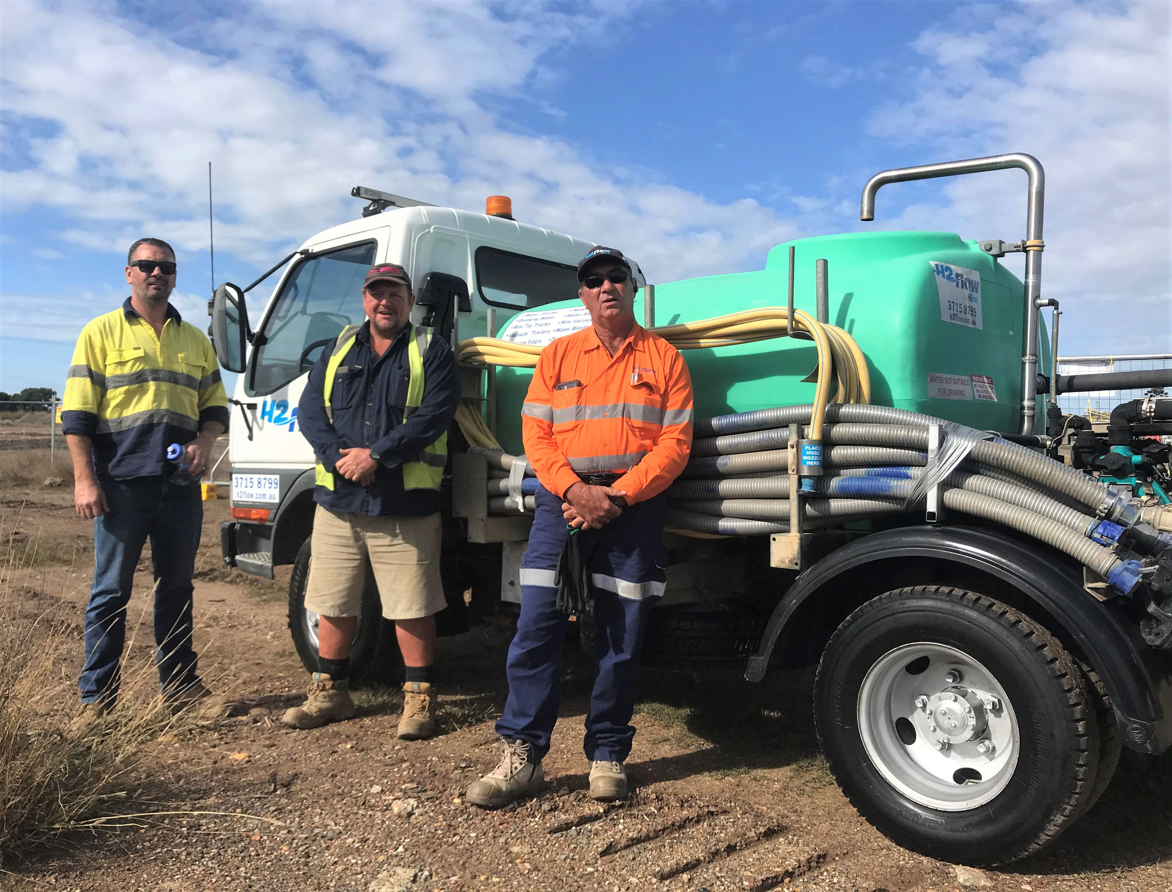 General Manger Anthony Betts and the team from Skerman Civil with a H2fiow Hire water truck.